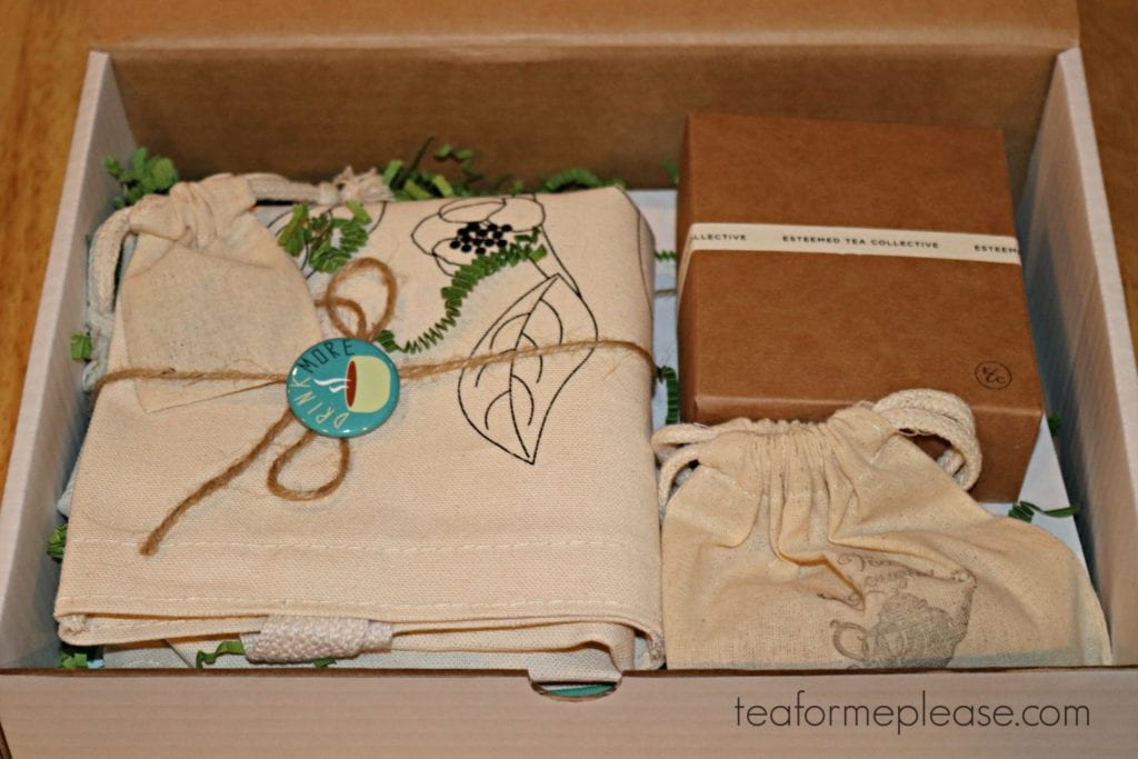 The Steep It Real Box. Aselection of tea themed gifts in a white box