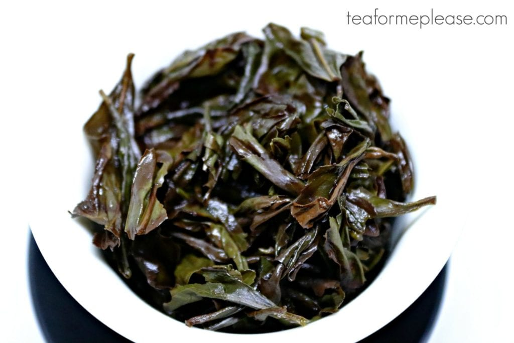 Enchanting Fragrance oolong leaves, wet in a gaiwan